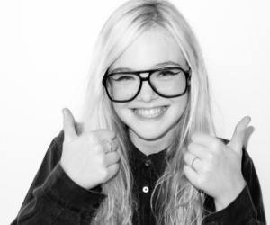 Elle Fanning, black and white, and smile image