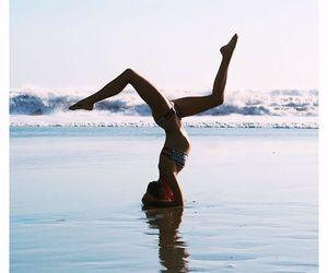 girl, beach, and yoga image