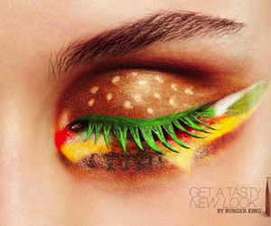 hamburger, makeup, and eye image