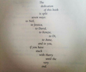 book, dedication, and harry potter image