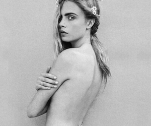 black and white, naked, and cara image
