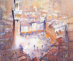 painting, watercolor, and architecture image