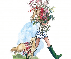 boots, dog, and flowers image
