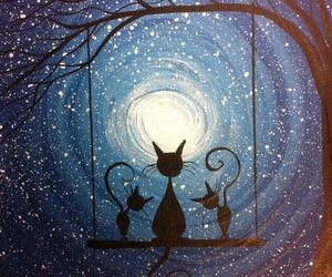cat, night, and art image
