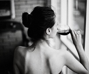 black&white, wine, and woman image