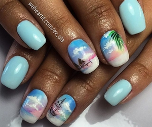 beach, beauty, and blue nails image