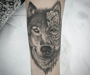 tattoo, lobo, and wolf image