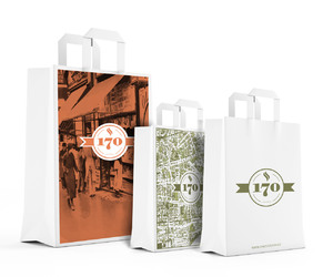 bags, branding, and cafe image