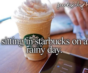 starbucks, coffee, and rainy day image