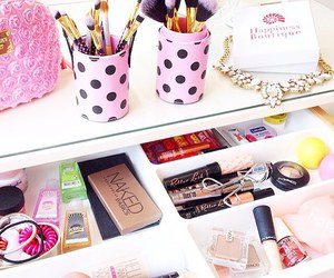 dressing table, girly things, and make up image
