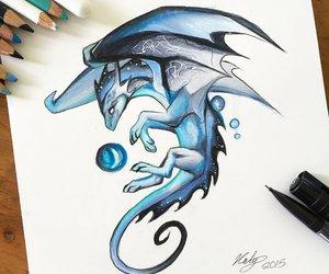art, dragon, and draw image