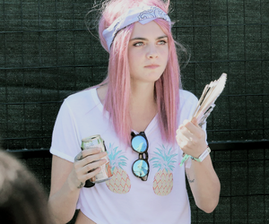 cara delevingne, model, and pink hair image