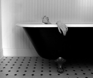 black and white, hands, and bath image