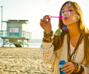 bubbles, girl, and beach image