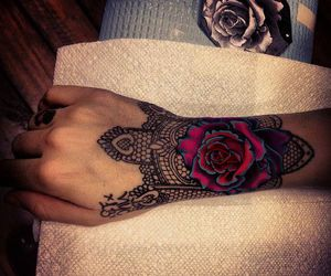 rosa, rose, and tattoo image