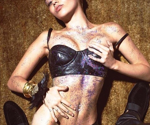 miley cyrus, Moschino, and leather bra image