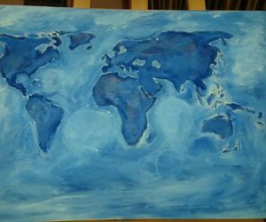 blue, world, and painting image