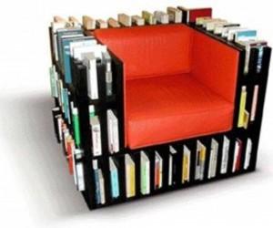 book, chair, and bookshelf image