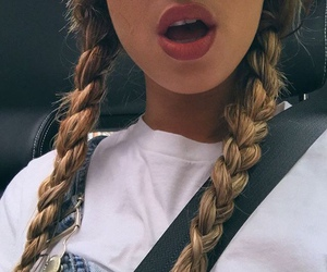 girl, lips, and braid image