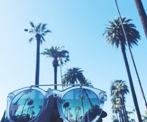 palm trees, summer, and sunglasses image