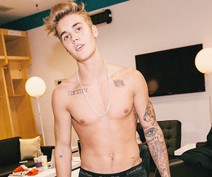 abs, Tattoos, and justin bieber image