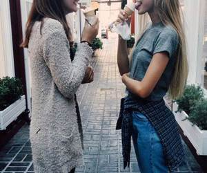 girl, friends, and ice cream image