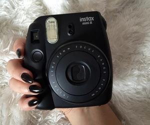black, camera, and polaroid image