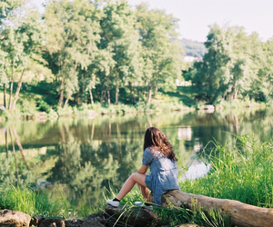 girl, nature, and water image