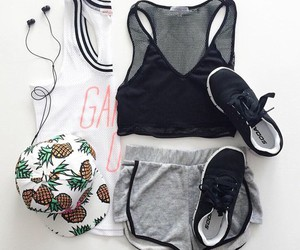 outfit, fitness, and cap image