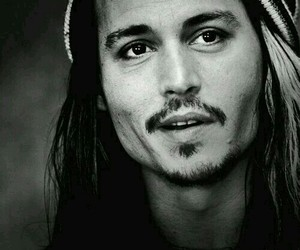 johnny depp, black and white, and actor image