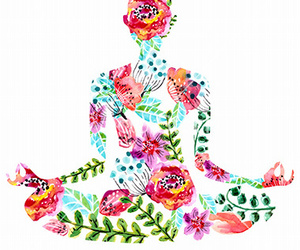 flowers, meditation, and yoga pose image