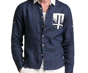 navy linen casual shirt image