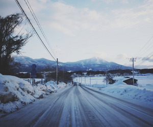 snow, beautiful, and road image