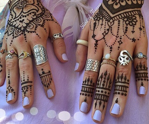hands, henna, and jewelry image