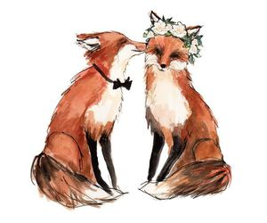 fox, flowers, and art image