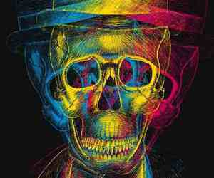 colors, skulls, and trippy image