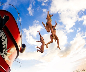 girl, summer, and jump image