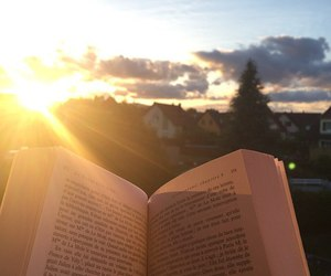 book, sky, and nature image
