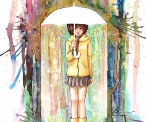 umbrella, art, and girl image