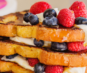 blueberries, french toast, and strawberries image