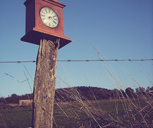 clock, vintage, and fence image