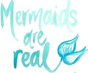 aqua, blue, and mermaids image
