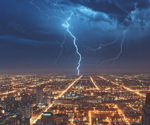 city, storm, and light image