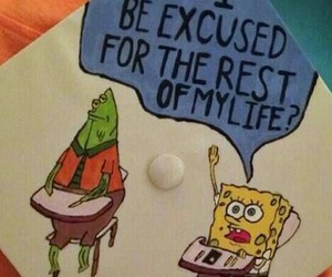 spongebob, graduation, and funny image