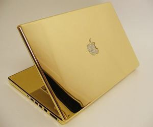 gold, apple, and laptop image