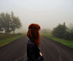 girl, road, and hair image