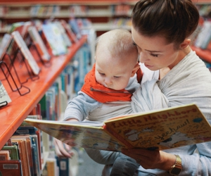 baby, mom, and book image