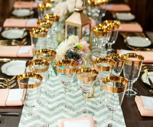 wedding, gold, and table image