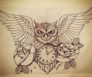owl, tattoo, and drawing image