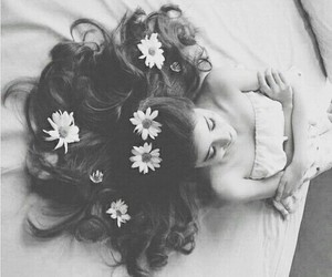 black and white, hair, and flower image